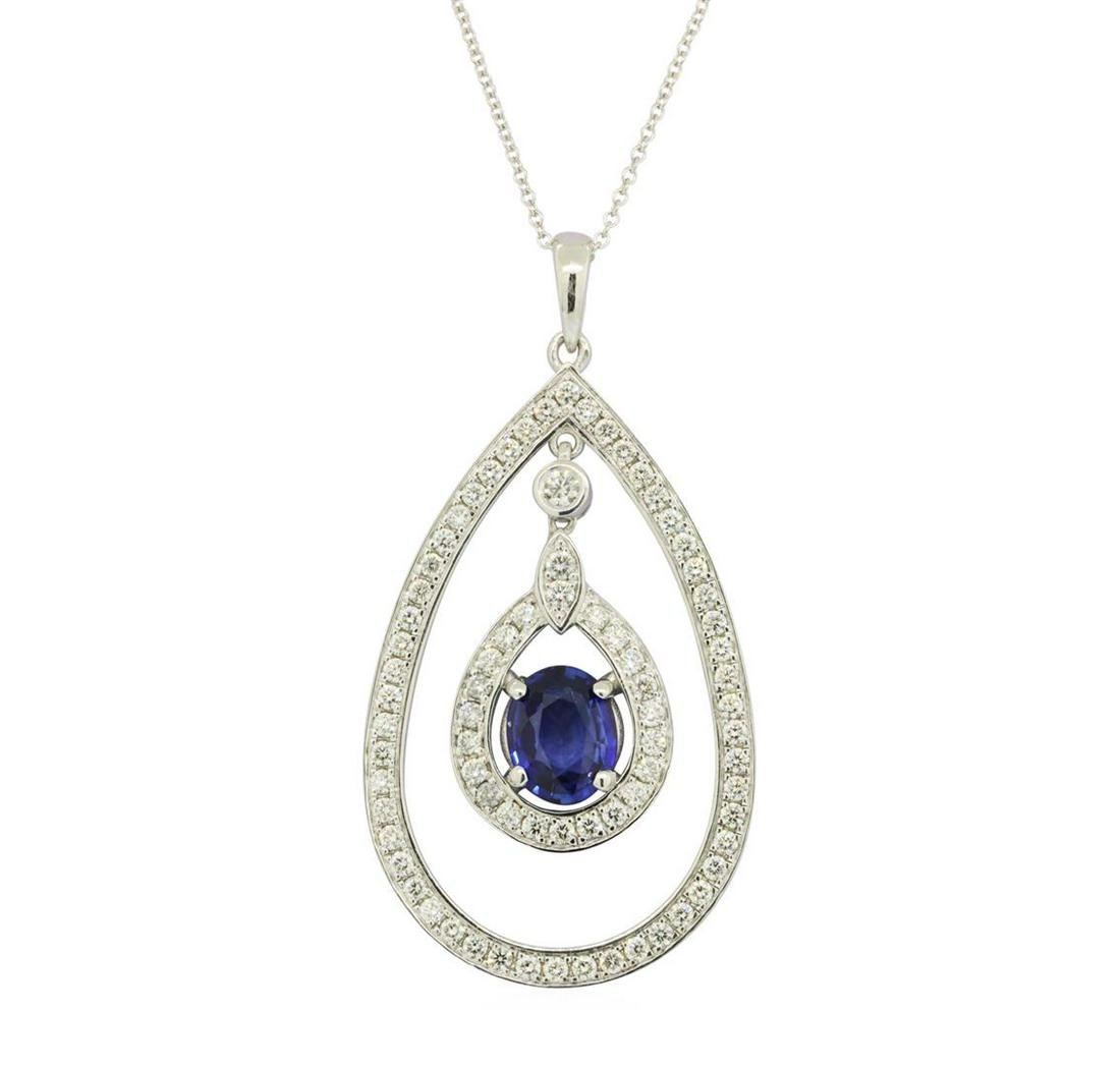 1.67 ctw Blue Sapphire Pendant With Chain - 14KT White
