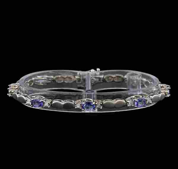 4.40 ctw Tanzanite and Diamond Bracelet - 14KT White