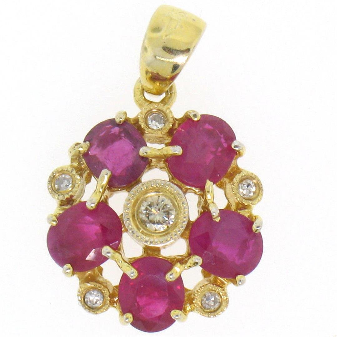 14k Yellow Gold Flower Pendant 2.10 ctw Oval Blood Red