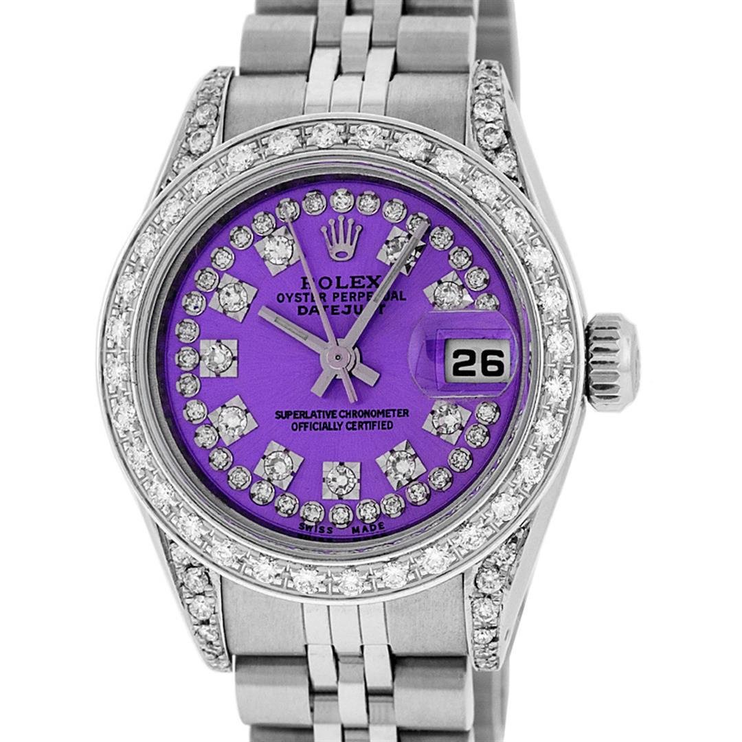 Rolex Ladies Stainless Steel 26MM Purple String Diamond