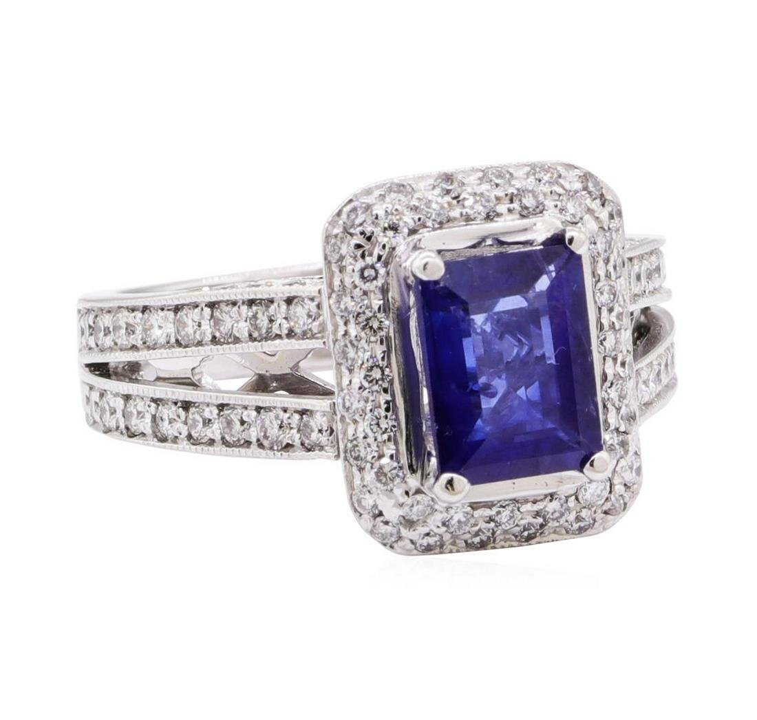 2.97 ctw Blue Sapphire And Diamond Ring - 14KT White