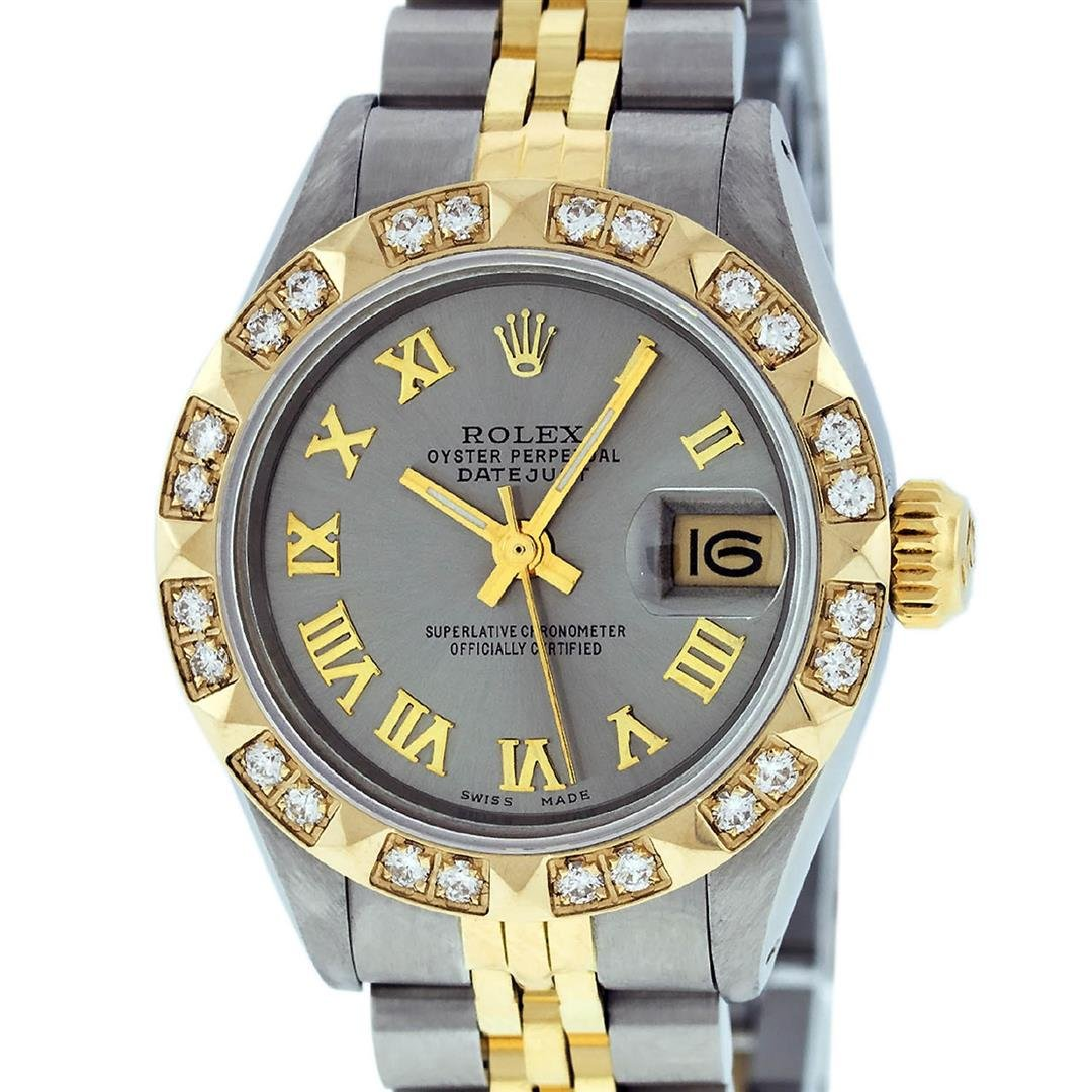 Rolex Ladies 2 Tone 14K Gray & Pyramid Diamond Datejust