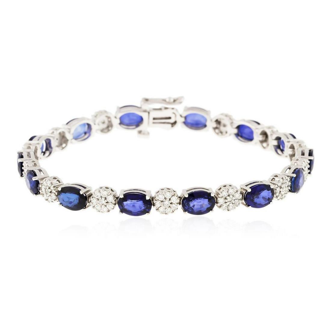 14KT White Gold 21.98 ctw Sapphire and Diamond Bracelet