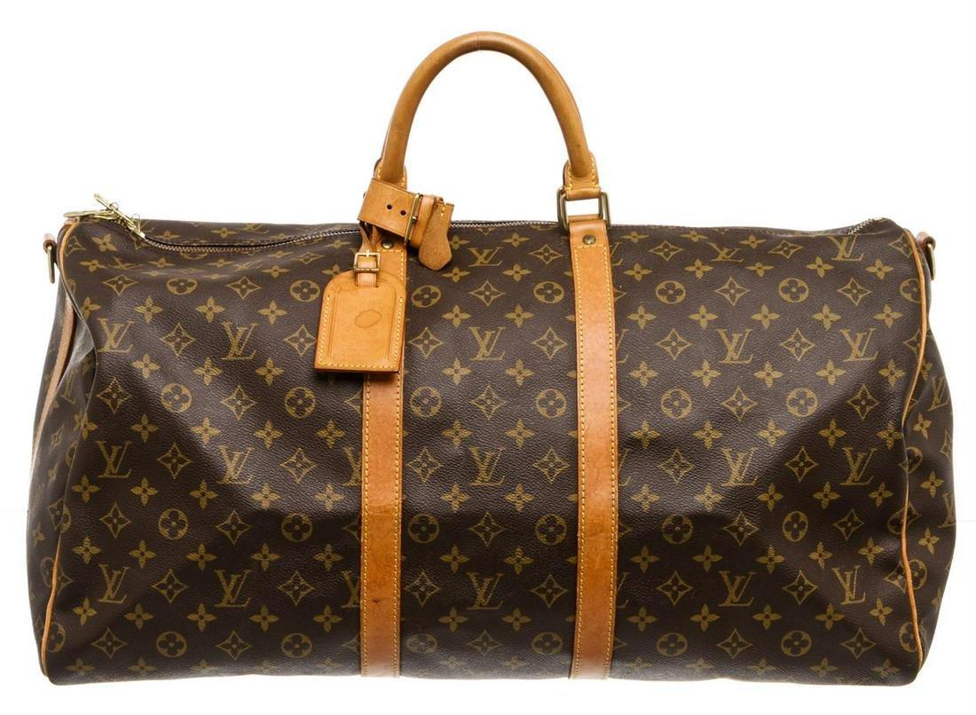 Louis Vuitton Monogram Canvas Leather Keepall 55 cm