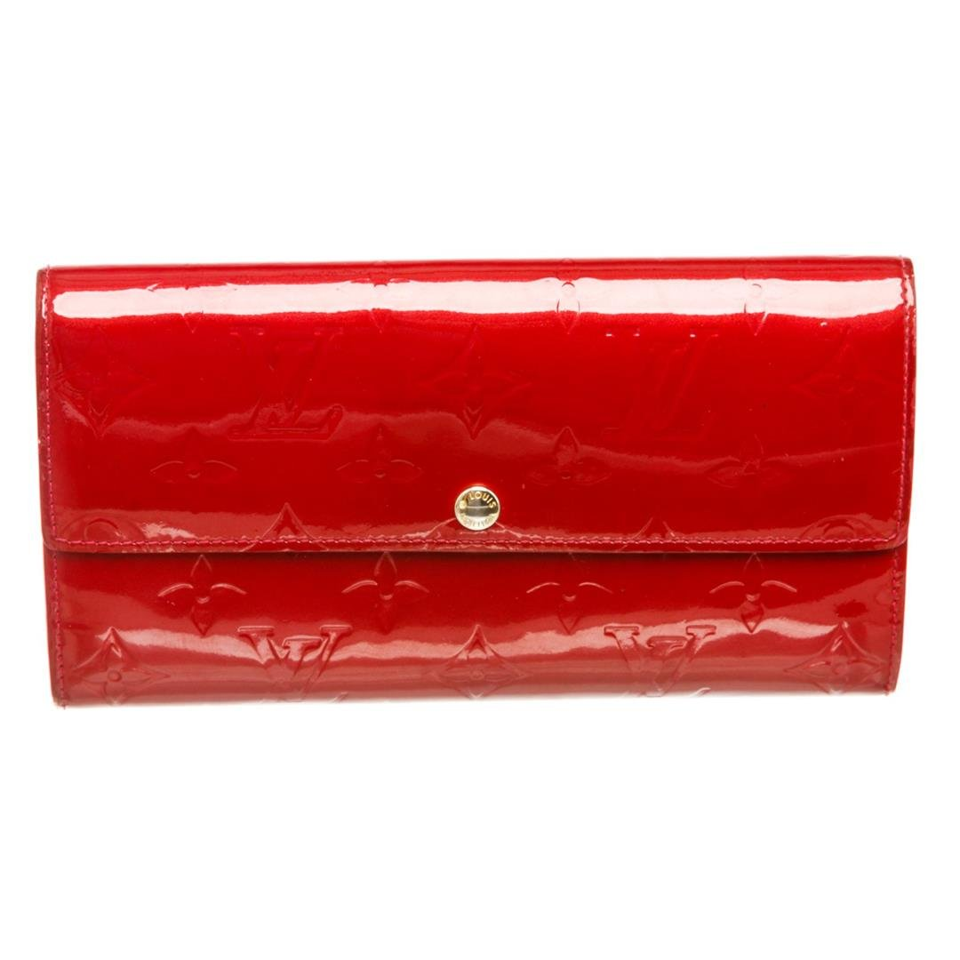 Louis Vuitton Red Monogram Vernis Leather Sarah Wallet
