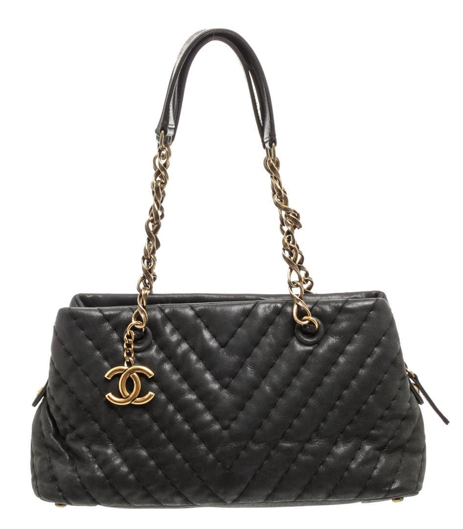 Chanel Grey Chevron Surpique Quilted Leather Small Tote