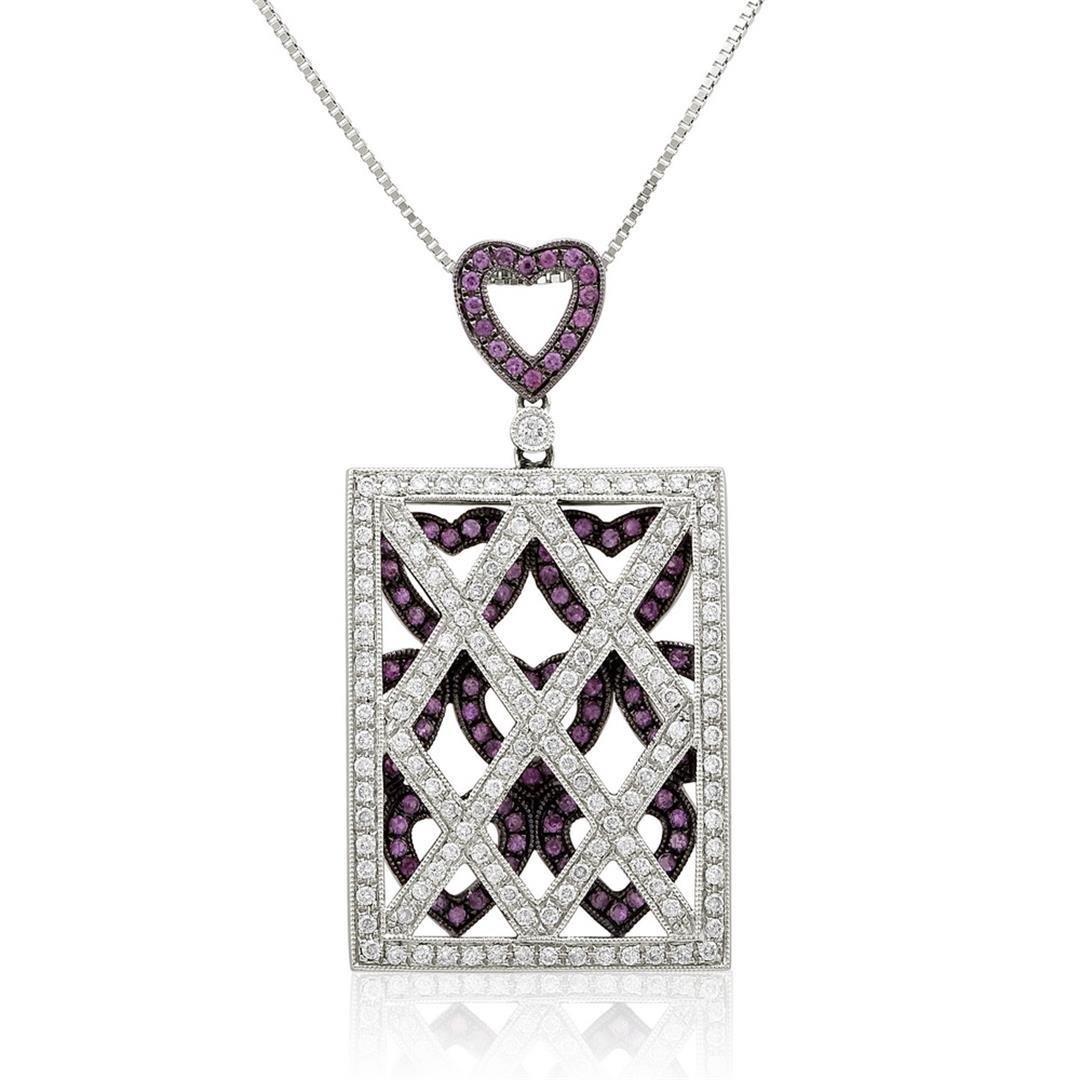 18k White Gold 1.53CTW Pink Sapphire and Diamond