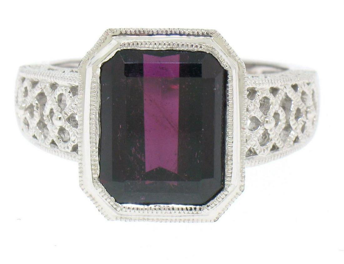 14k White Gold Filigree Ring w/ Large Emerald Cut Deep
