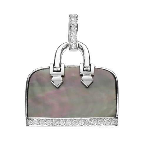 18k White Gold 0.20CTW Mother Of Pearl and Diamond