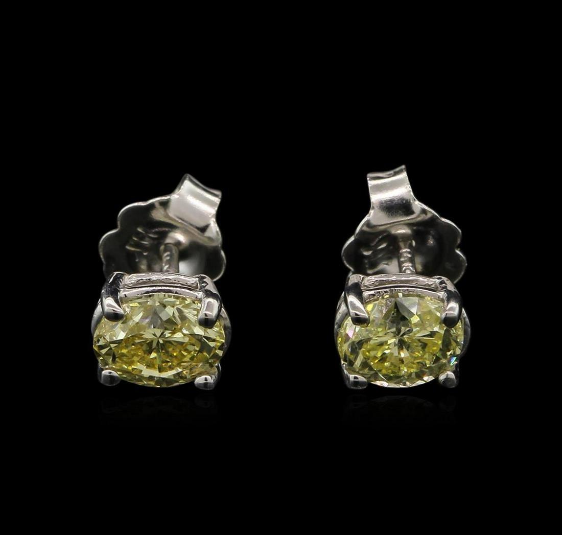 1.21 ctw Yellow Diamond Stud Earrings - 14KT White Gold
