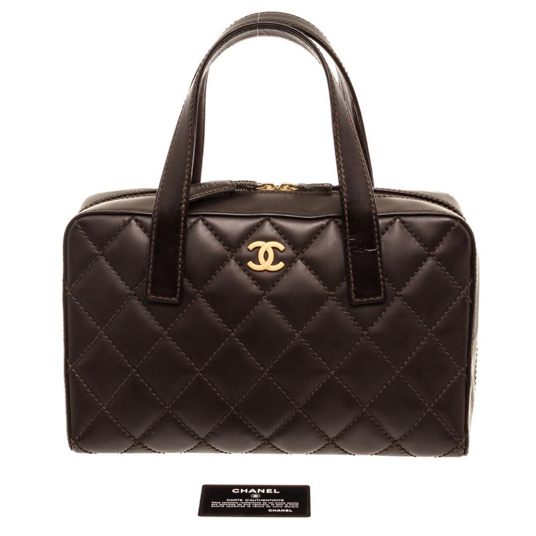 Chanel Dark Brown Quilted Leather Surpique Stitch Tote