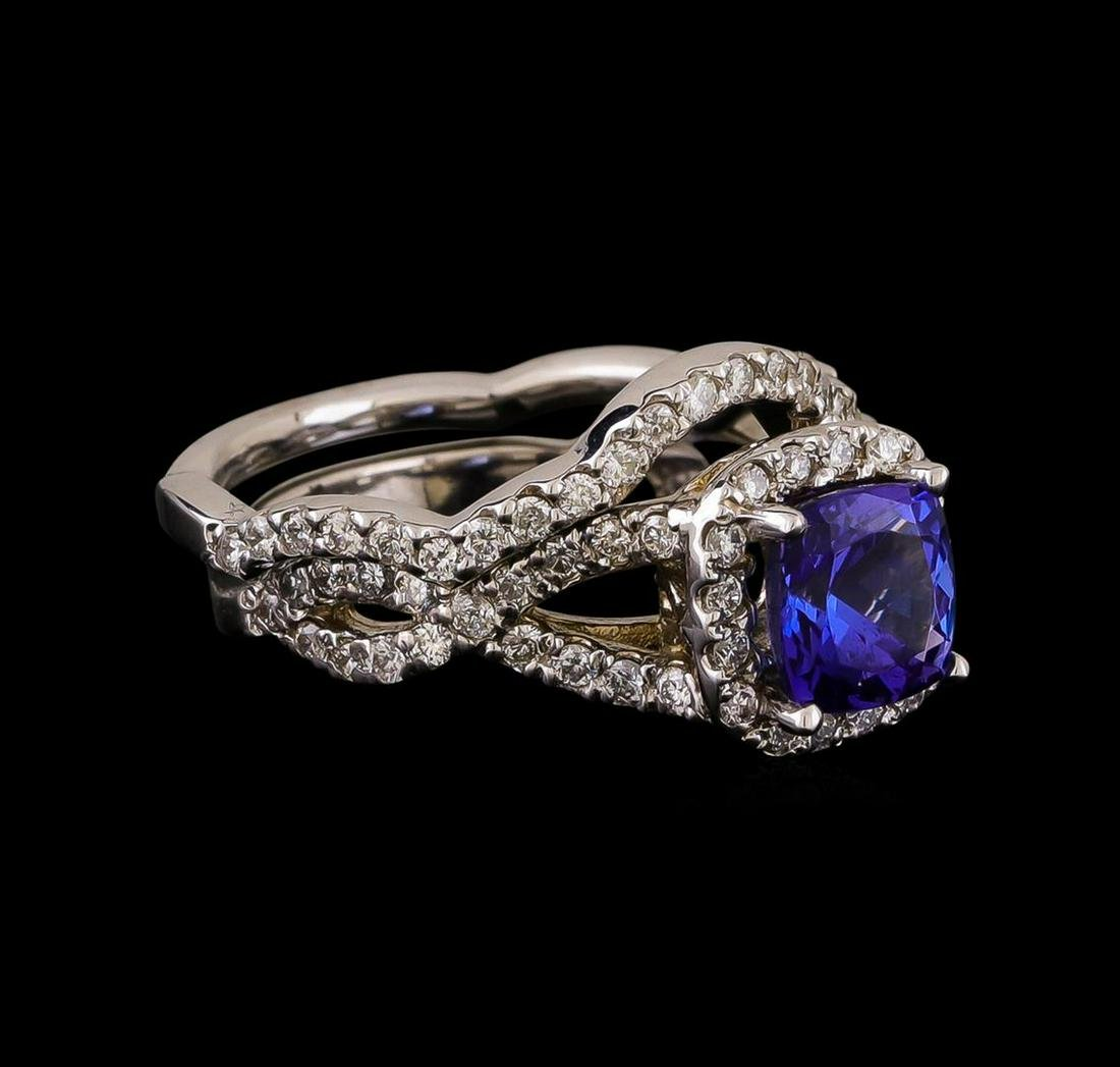 14KT White Gold 1.22 ctw Tanzanite and Diamond Ring and