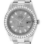 Rolex Mens SS 41MM Meteorite Baguette Diamond Datejust