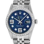Rolex Mens Stainless Steel Blue Diamond 36MM Datejust
