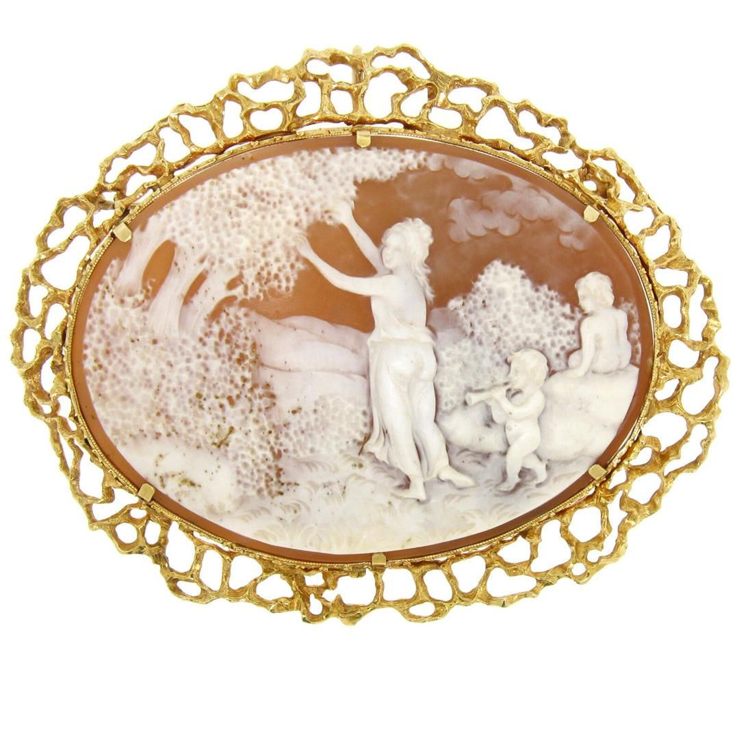 14k Solid Gold Carved Shell Open Nugget Cameo Brooch
