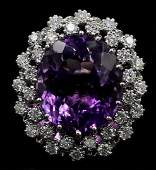 12.15 ctw Amethyst and Diamond Ring - 14KT White Gold