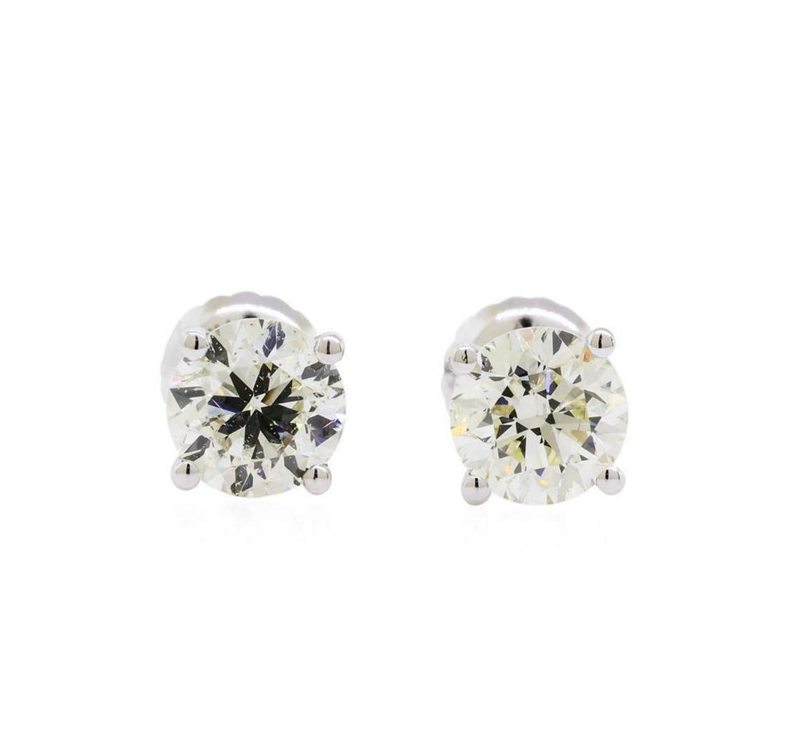1.40 ctw Diamond Stud Earrings - 14KT White Gold
