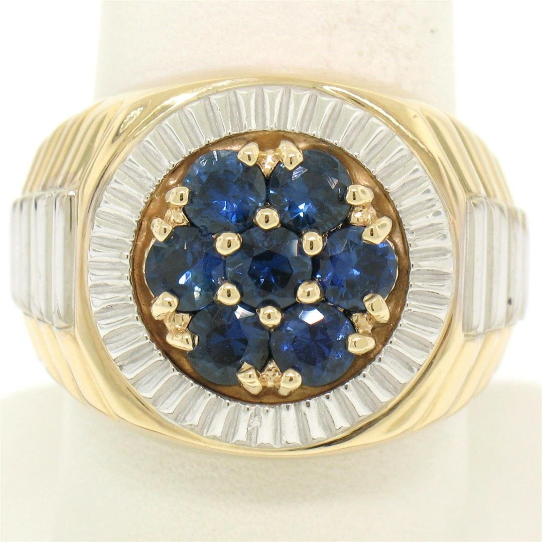 Men's 14k Two Tone Gold 2.50 ctw Round Sapphire Cluster