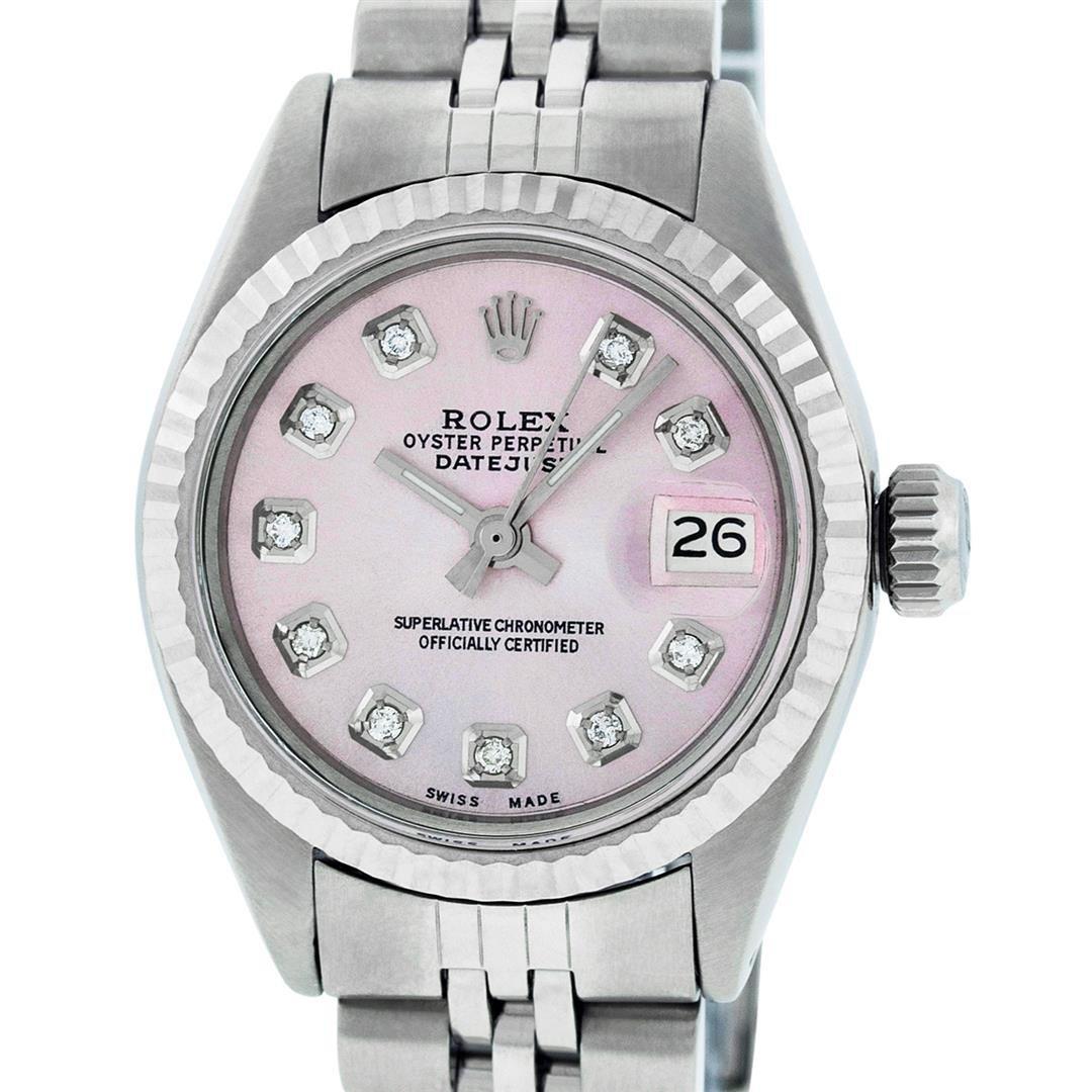 Rolex Ladies Stainless Steel Pink Diamond 26MM Datejust