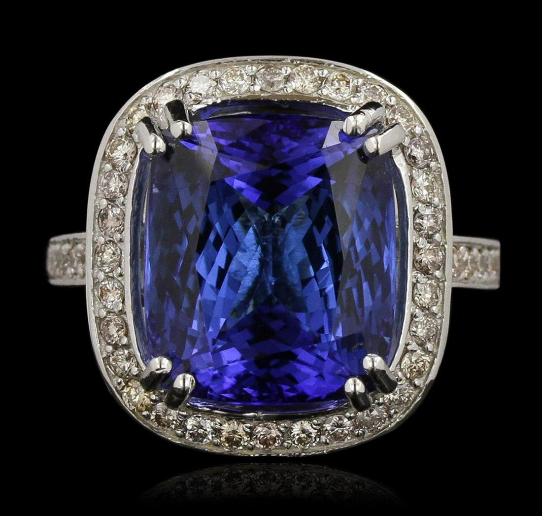 14KT White Gold 17.22 ctw GIA Cert Tanzanite and