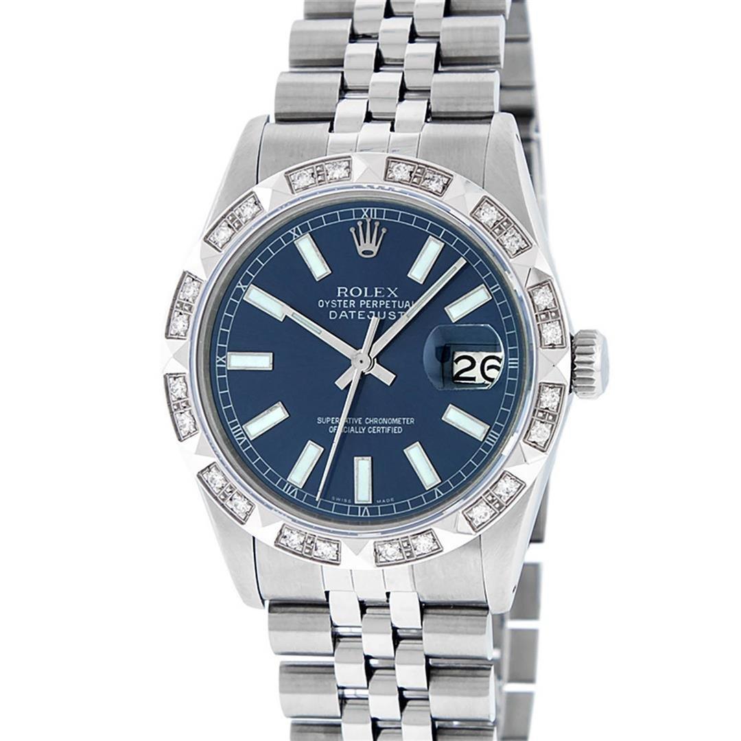 Rolex Mens Stainless Steel 36MM Blue Index Diamond