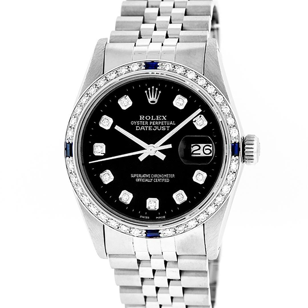 Rolex Mens Stainless Steel Slate Black Diamond &