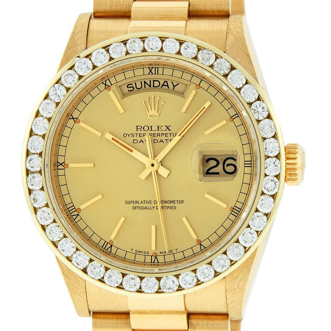 Rolex Mens 18K Yellow Gold 3.0 ctw Channel Set Diamond