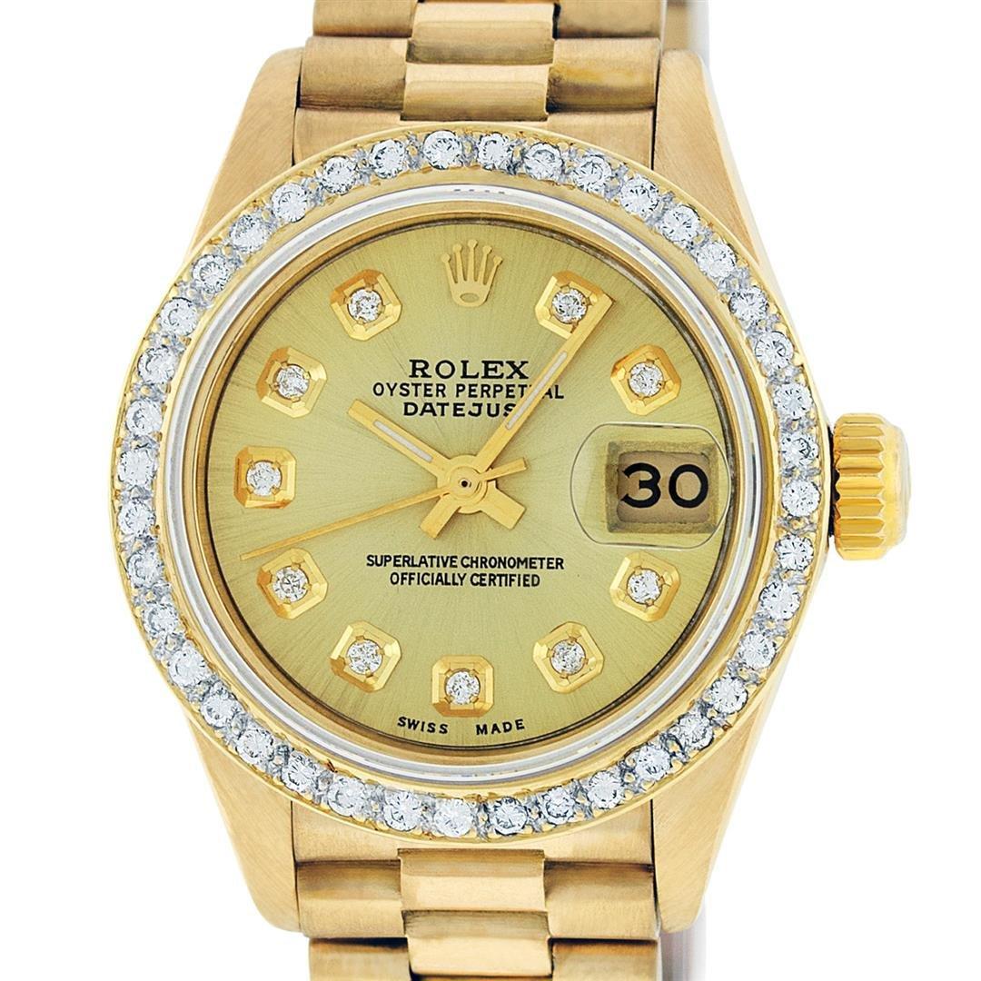 Rolex Ladies 18K Yellow Gold Champagne Diamond