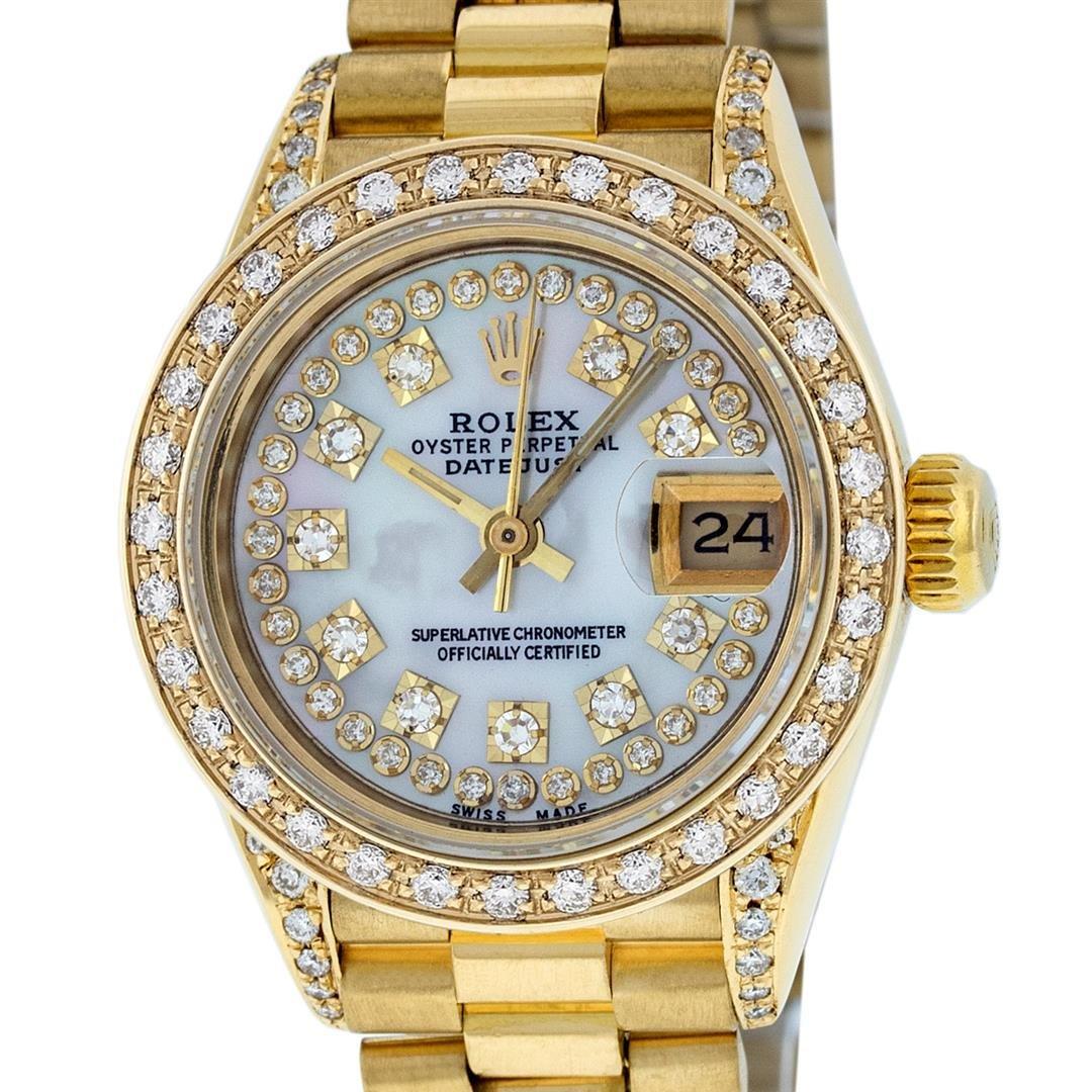 Rolex Ladies 18K Yellow Gold MOP Diamond Lugs President