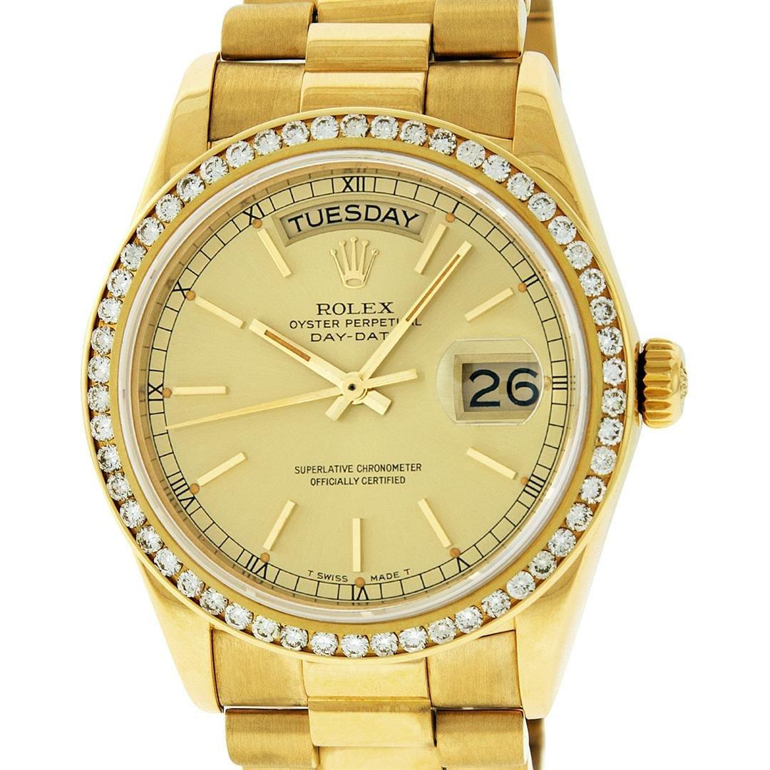 Rolex Mens 18K Yellow Gold 1.0 ctw Channel Set Diamond