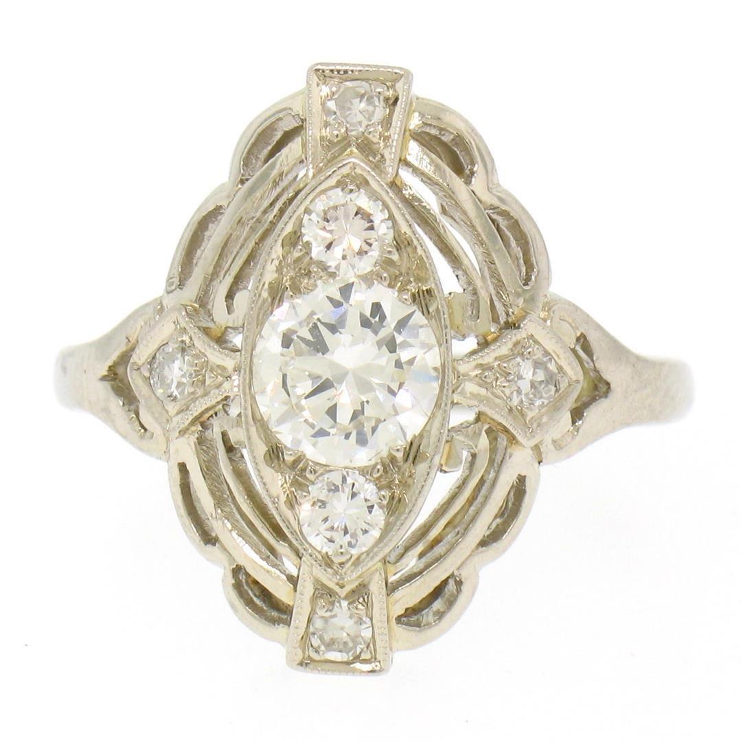 Art Deco 14k White Gold 0.85 ctw Diamond Large Open