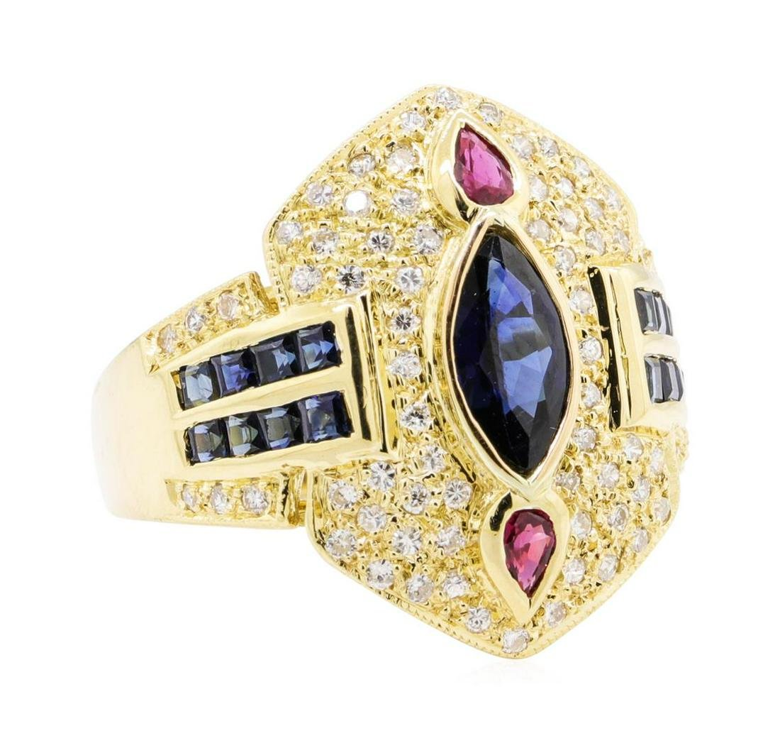1.60 ctw Sapphire, Ruby and Diamond Ring - 18KT Yellow