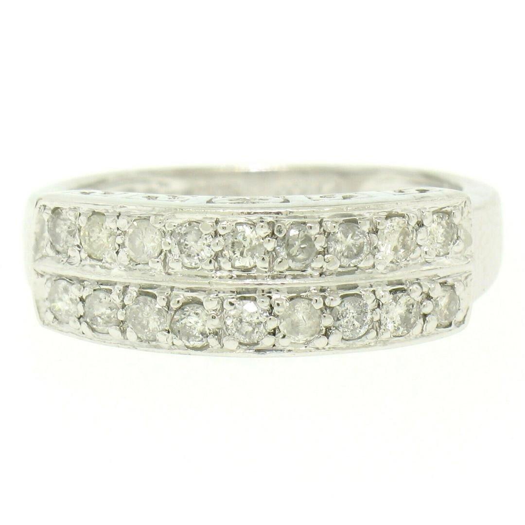 .950 Platinum 0.72 ctw Dual Row Round Diamond Band Ring