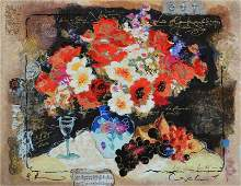 Alexander  Wissotzky Flowers with a Glass of Wine