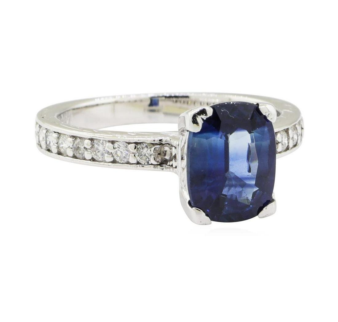 2.77 ctw Sapphire and Diamond Ring - 14KT White Gold