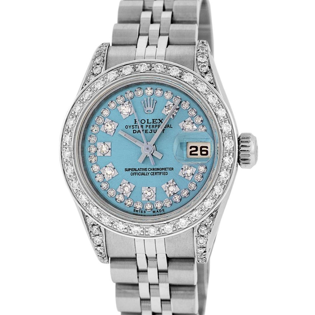 Rolex Ladies Stainless Steel 26MM Blue String Diamond