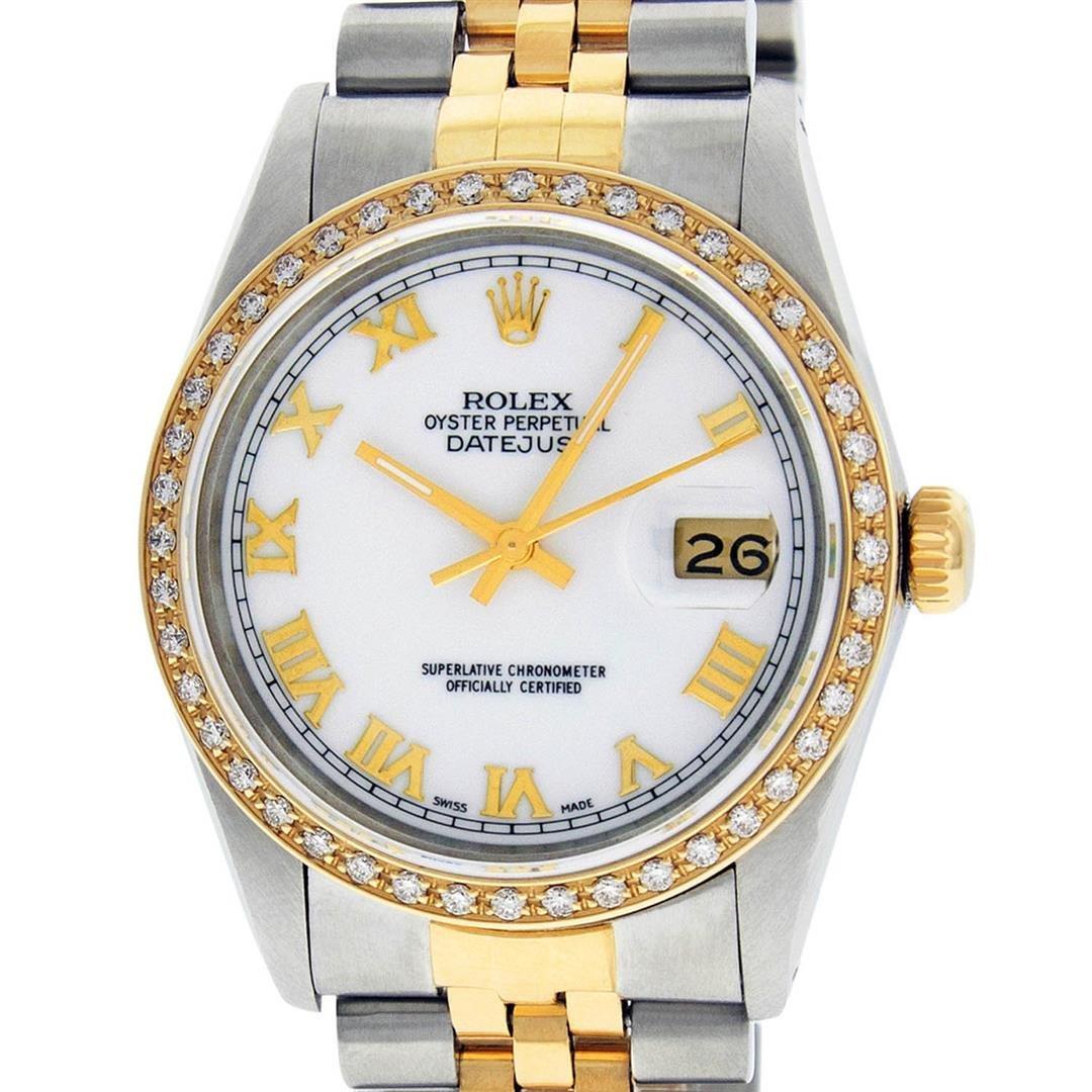 Rolex Mens 2 Tone 14K Mother Of Pearl Diamond 36MM