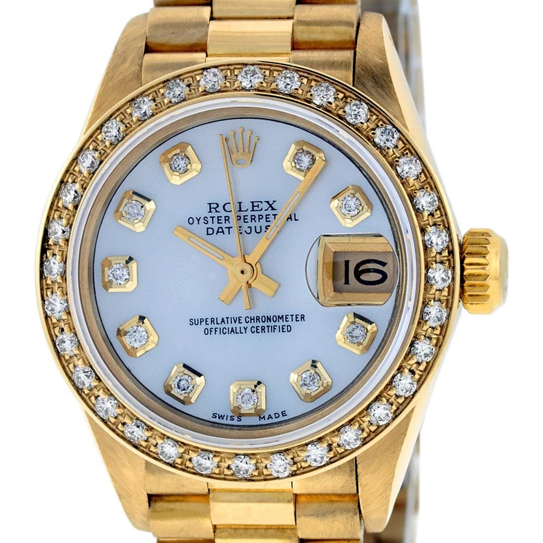 Rolex Ladies 18K Yellow Gold Mother Of Pearl Diamond