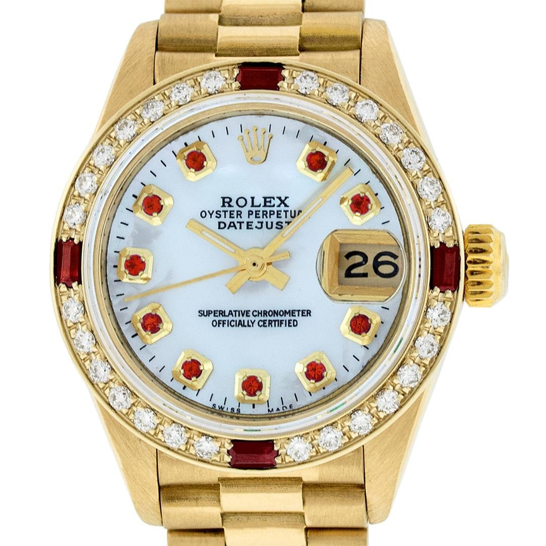 Rolex Ladies 18K Yellow Gold MOP Ruby President