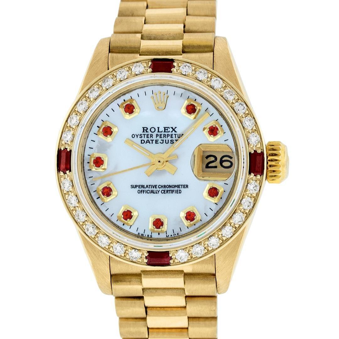Rolex Ladies 18K Yellow Gold MOP Ruby President