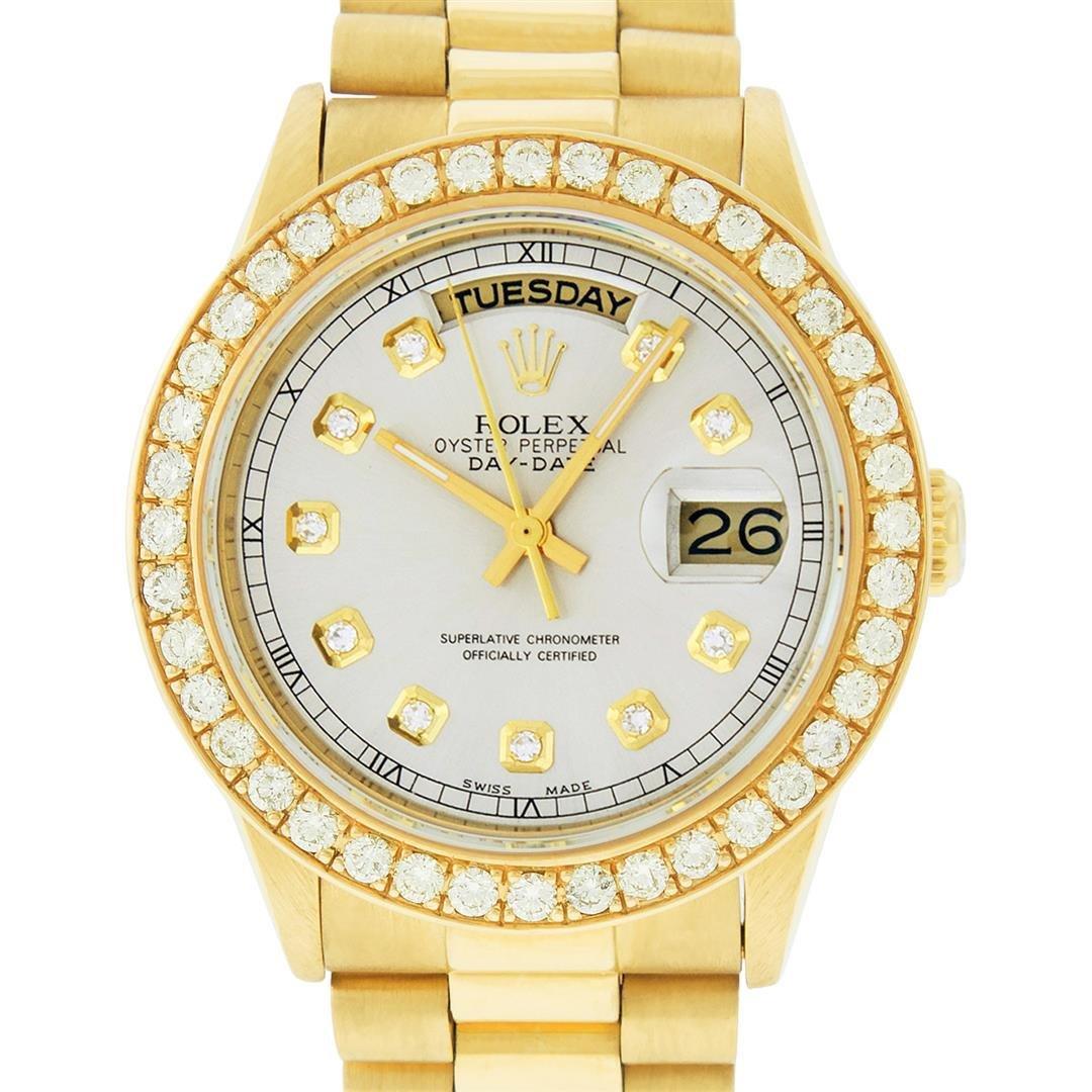 Rolex Mens 18K Yellow Gold Silver Diamond 1.9 ctw