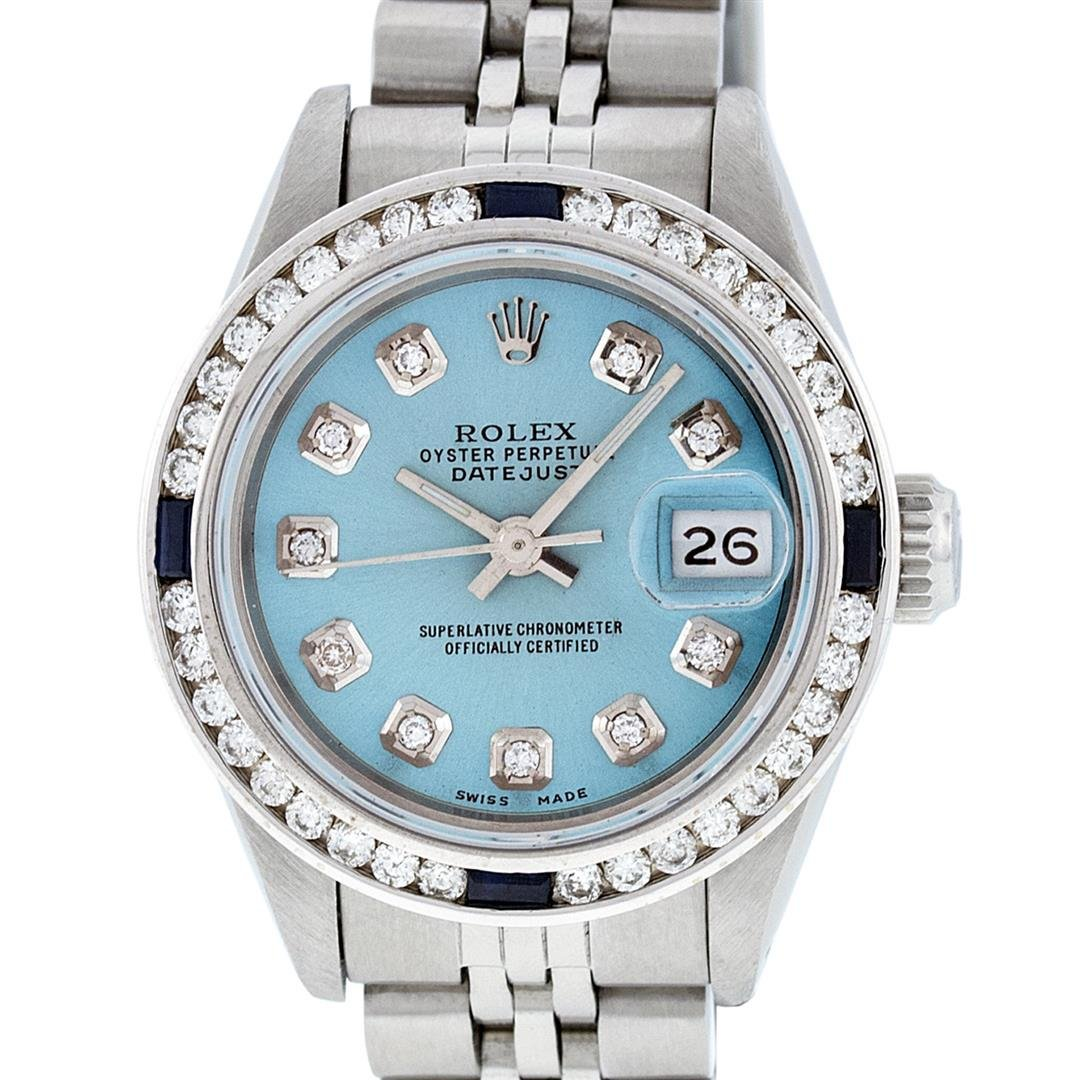 Rolex Ladies Stainless Steel Blue Diamond & Channel Set