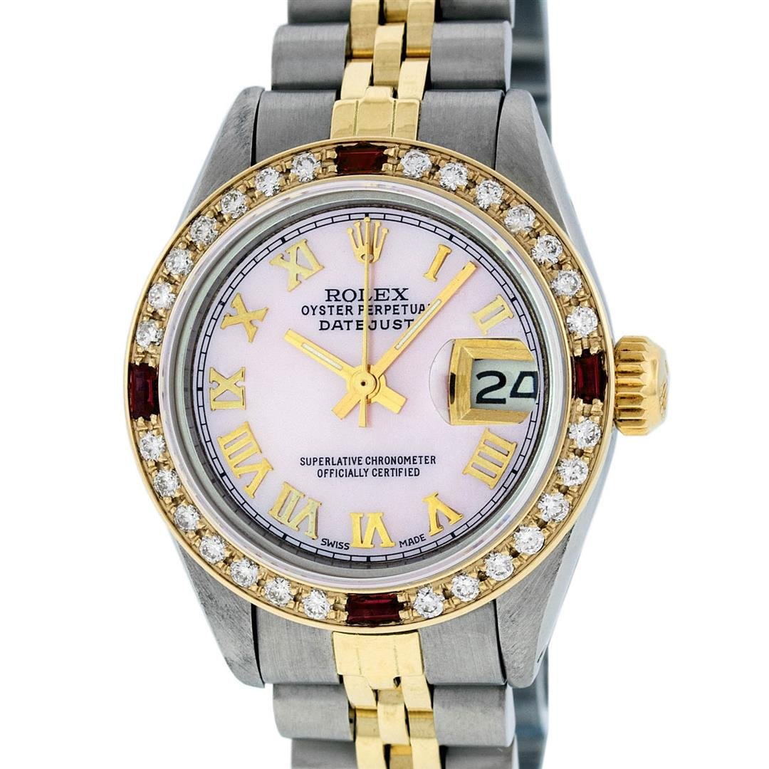 Rolex Ladies 2 Tone 14K Pink MOP Diamond & Ruby