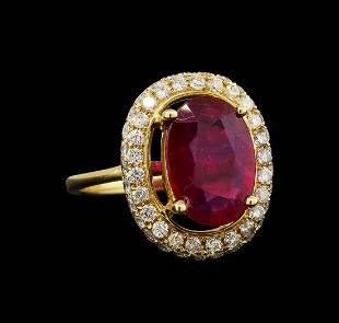 14KT Yellow Gold 389 ctw Ruby and Diamond Ring