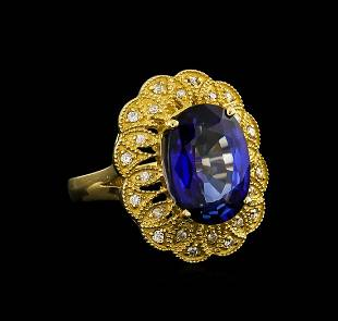 14KT Yellow Gold 738 ctw Tanzanite and Diamond Ring