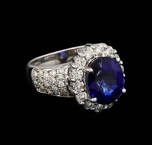 14KT White Gold 479 ctw Sapphire and Diamond Ring