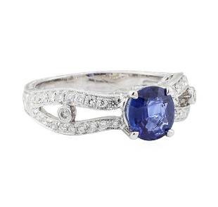 188 ctw Sapphire and Diamond Ring 18KT White Gold
