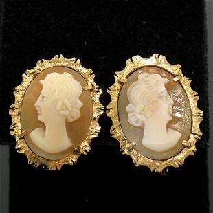 18k Yellow Gold Carved Shell Cameo Earrings w Etched