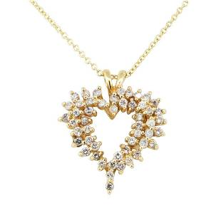 100 ctw Diamond Heart Shaped Pendant with Chain 14KT