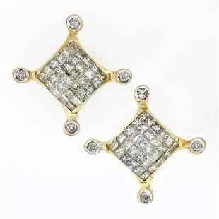 Large 14K Yellow Gold 132 ctw Princess Round Diamond